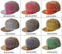 Wholesale Punk Snap Back Hat - Adjustable Punk Flat Snapbacks hats hiphop hip hop Snapback Snap Back Hats Caps Baseball New Design Rivet Hat Cap Many Colour