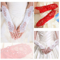 Wholesale Cotton Bridal Gloves - Free shipping White Red Bridal Glove elbow length beaded lace appliques Wedding Gloves Lace No finger Hot Sell
