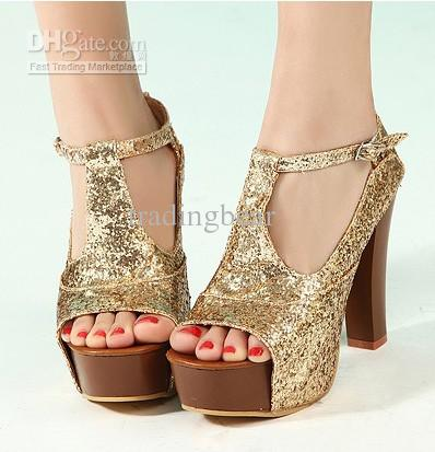 72b1f8de2b47 2013 New Sexy Gold Glitter Sparkly Sequins T-Strap Peep Toe High Platform Heels  Shoes