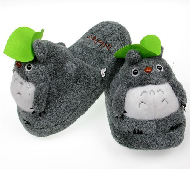 Retail Totoro Slippers Grijs Mijn Buurt Totoro Figuren Cartoon Pluche Slipper 11 inch Totoro Slipper