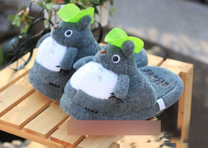 Detaljhandel totoro tofflor grå min granne totoro figures cartoon plush slipper 11inch totoro slipper