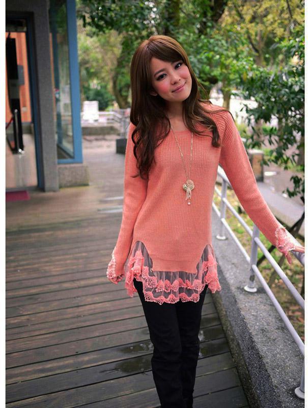 2019 New Stylish Girls Women\u0027s Sweater Knitting Wool Dress Lace Hem Slim  Long Casual Sweaters G0024 From Cntomtop, $14.39