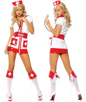 Wholesale Sexy Dress Nursing - Cosplay Sexy Nurse Costumes For Women Flirty Nurse Costume Set Zipper Front Stretch Dress Outfit 3 Pieces N17002