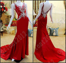 Wholesale Spaghetti Dress Real Photos - Real Pictures V-neck Prom Dresses Elegant Fashion Spaghetti strap Crystal Sheath pageant dresses evening party gown Evening Dresses