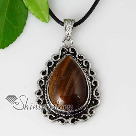 teardrop semi precious stone glass opal turquoise rose quartz tiger's-eye necklaces pendants handmade China cheap fashion jewellery