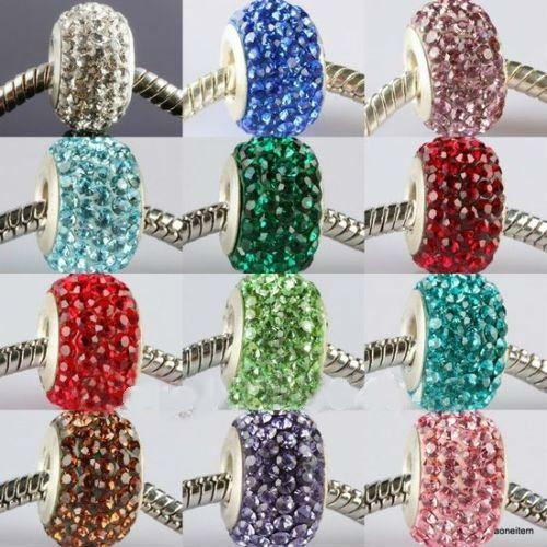 best selling 14MM New Resin Rhinestone Multicolor Crystal Beads, Silver Plated Core Big Hole Crystal European Bea