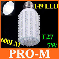 Wholesale E27 149 Led - 110V-120V 600LM E27 Screw 7W Corn Light white LED bulb lamp with 149 LED Light free shipping