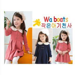 Wholesale Skirt Waist Double Dress - 2013 NEW! Girl's Pullover Round Collar Dress Elbow 100%cotton High Waist Skirt Double Dreasted Dress