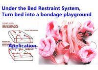 sklavenbeschränkungen großhandel-BDSM Sex Domination Bondage Gear Unter dem Bett Fesselsystem Handgelenk Fußfesseln Gürtelsklave Trainer Adult Toys für Paare Pink XLY848