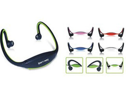 Wholesale Bluetooth Headset Card Mp3 - Sport MP3 Player Wrap Around Headphones with TF Card Slot Green Blue Red Colors