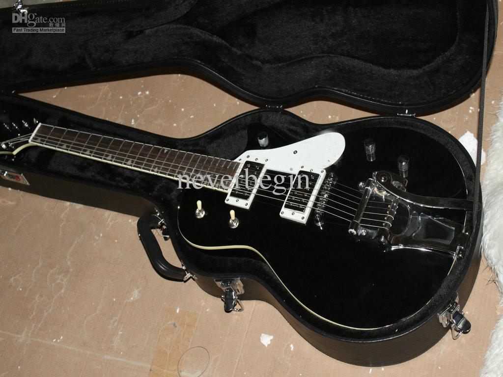 Gratis frakt Trevlig svart klassisk elektrisk gitarr med vibrato -Best försäljning