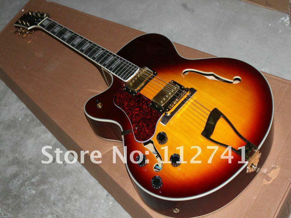 Brand Burst Hollow L-5 Vänsterhänt Jazz Guitar Top Musikinstrument Bästa