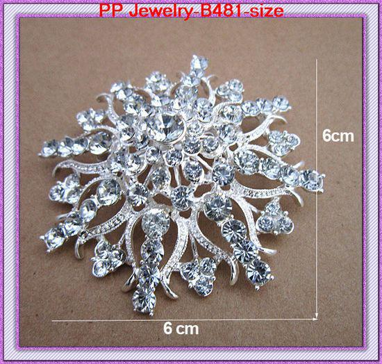 Big Silver Flower Brooch Stunning Rhinestone Crystal Large Flower Wedding Bouquet Brooch For Bridal Women Hijab Wear Pins Gift Brooch