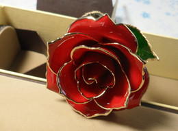 Wholesale Valentines Day Gifts Free Shipping - Wholesale lacquered red natural rose,dipped in 24kt gold rose valentine' day gift,free shipping