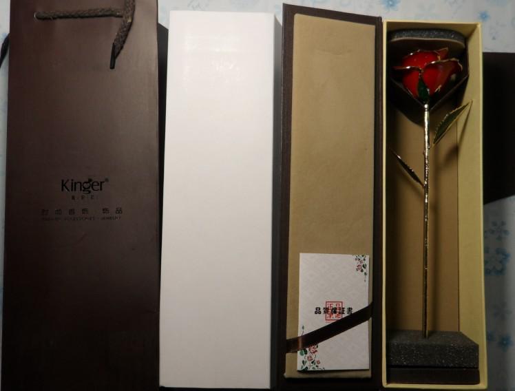 Rosa rossa naturale laccata all'ingrosso, immersa nel regalo di San Valentino in oro rosa 24kt, spedizione gratuita