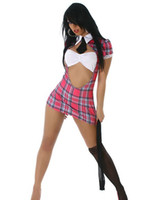 Wholesale Cosplay Mini Skirt - Cosplay Sexy Schoolgirl Costumes For Women Erotic Teach Me Love School Girl Lingerie Costume Maid Mini Skirt Open Front Tie Cup S4216