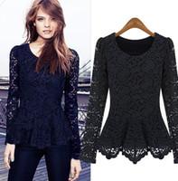 Wholesale Long Black Tank Top Dress - New fashion women hollow lace cotton shirt long sleeve Tank Tops clothing dress black white XMAS