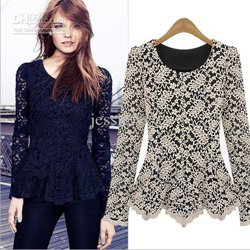 2013 Fashion Women Hollow Lace Cotton Shirt Long Sleeve Tank Tops ...
