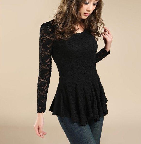 2014 Fashion Women Hollow Lace Cotton Shirt Long Sleeve Tank Tops ...