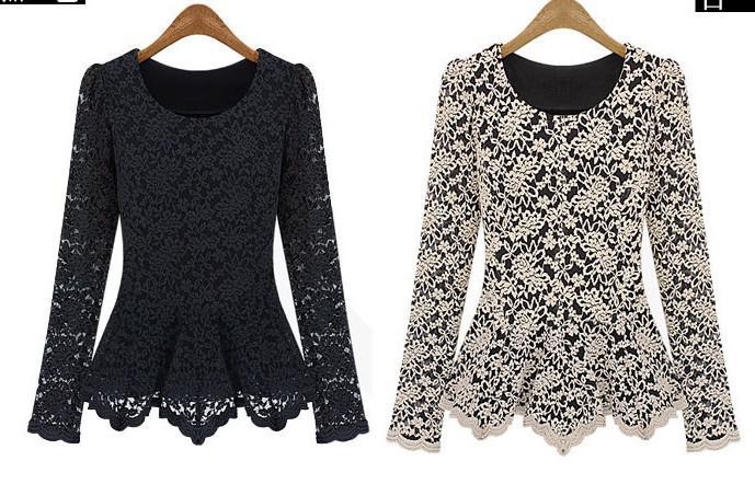 2015 Fashion Women Hollow Lace Cotton Shirt Long Sleeve Tank Tops ...