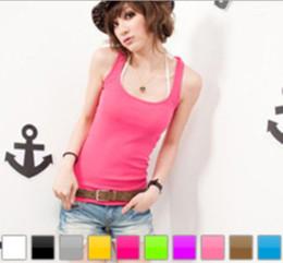 Vetement sexy femme noel en Ligne-Mode sexy femmes fille pure gilet débardeurs T-shirts colorés plage vêtements chemises xmas beau cadeau