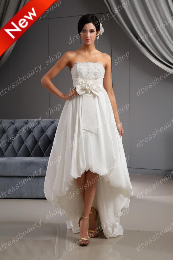 wedding dresses high low 2016 taffeta strapless high low wedding dresses 9353