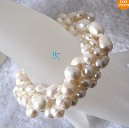 """Wholesale White Round Freshwater Pearl Bracelet - Best Buy fine pearl jewelry 8"""" 4-10mm 4Row White Freshwater Pearl Bracelet Off Round Rice Natural"""
