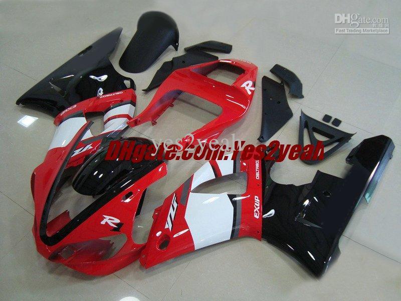 Kit de cuerpo de carenado de motocicleta para YAMAHA YZF R1 YZF-R1 2000 2001 Carrocería YZF1000 YZFR1 00 01 Conjunto de carenados rojo blanco