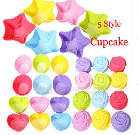 5 stijlen Tin Liner Bakken Cup Schimmel Mold Pudding Cup Siliconen Cake Muffin Chocolade Cupcake Case