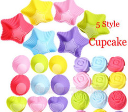 Wholesale Rose Cup Cake Mold - Rose star heart flower Silicone Cake Muffin Chocolate Cupcake Case Tin Liner Baking Cup Mold Mould