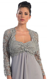 Wholesale Champagne Lace Wedding Shawl - 3 4 Sleeve Lace Sexy Glamorous Lace Gray Long sleeves jacket bolero for wedding dresses bridal accessories
