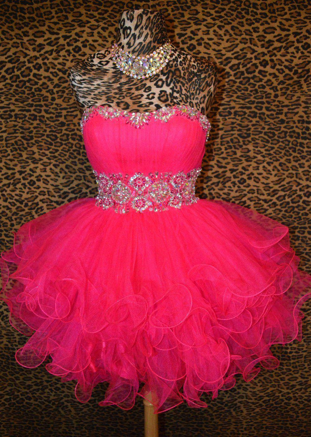 Fuschia Pink Short Prom Pageant Evening Cocktail Wedding
