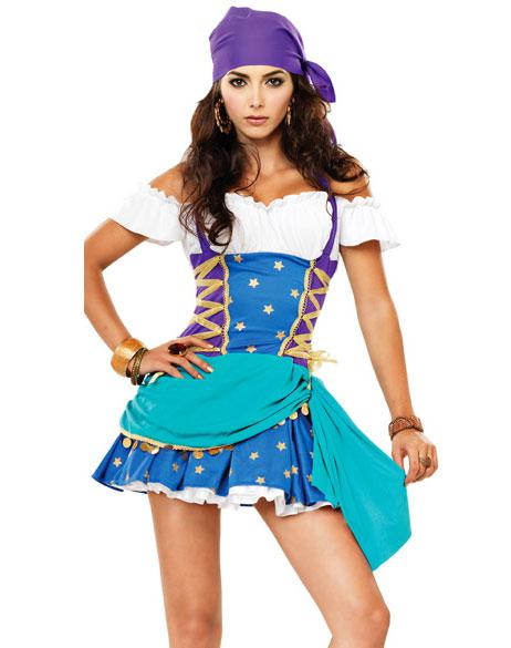 two piece gypsy princess costume includes peasant top halter dress with side lacing and matching head scarf