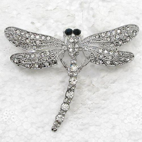 12pcs/lot Wholesale Clear Crystal Rhinestone Dragonfly Pin Brooch Fashion costume brooches jewelry gift C497 A