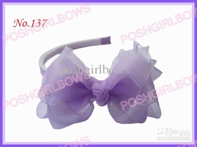 Livraison gratuite Filles Bandeau 3-3,5 arc cheveux fleur soie fille Bandeaux organza