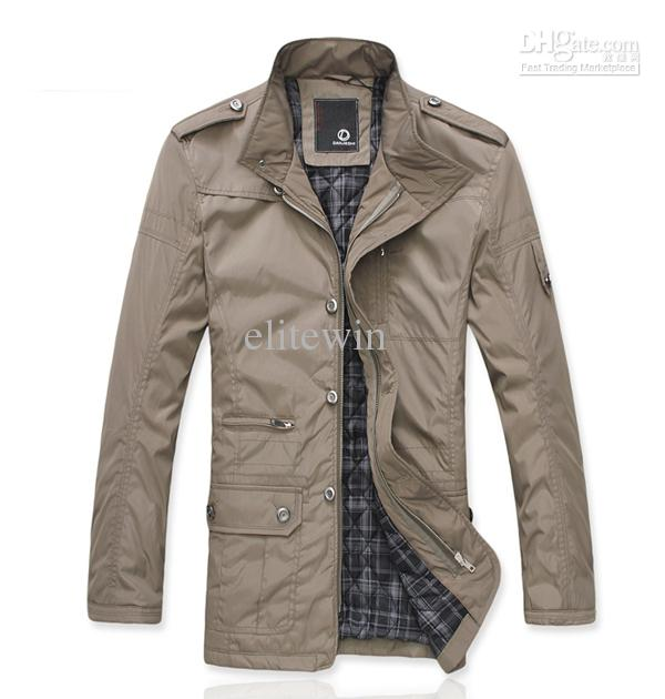 2013 New Mens Jackets Stand Collar Medium Long Casual Slim Stylish ...