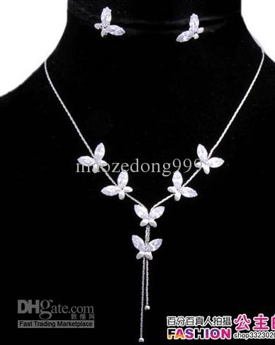 silver color butterfly wedding jewelry necklace earings free shipping