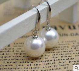 Wholesale South Seas Pearls Silver - Discovering Pearl S925 Silver 12mm South Sea shell pearl earrings