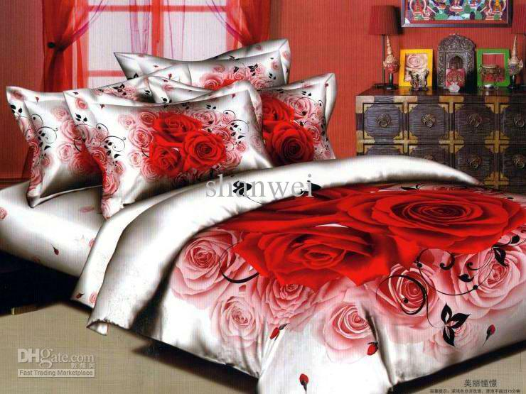 Red Rose Blossom Wedding Bedding Set Printed Cotton Duvet