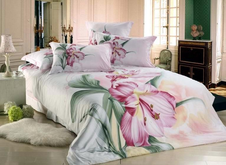 pink flowers printed lady bedding set 100 cotton comforter sets 4pc duvet cover sheet set queen bed