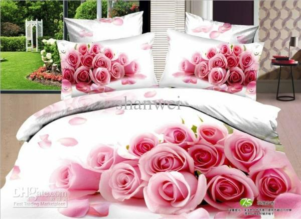 Beauty Pink Rose Blossom White Lady Comforter Set Queen