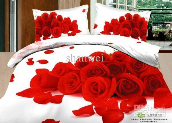 See larger image. Hot Love Red Rose Blossom White Comforter Set Queen Cotton Duvet