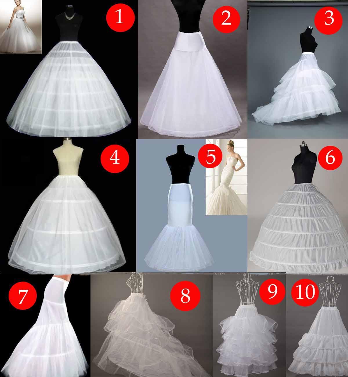 2019 goedkope bruids petticoat trouwjurken onderrok voor vrouwen formele jurken hot koop zeemeermin / baljurk gratis verzending