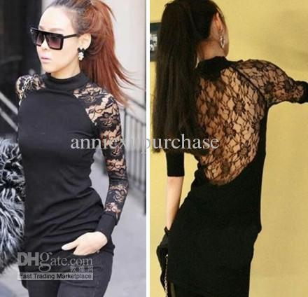 Fashion Women Ladies Sexy Tight Short Lace Dresses Tops Long ...