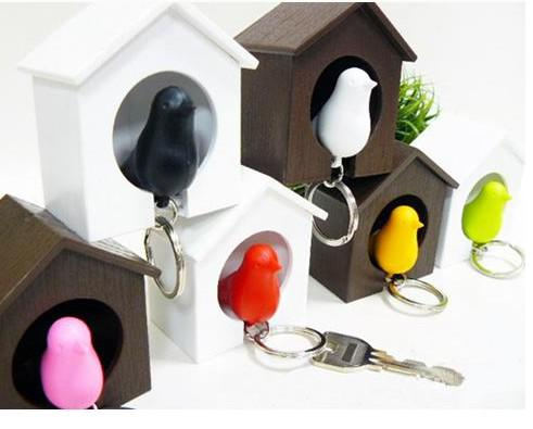 best selling Whistle sparrow bird keychain key ring chain with bird house holder key hook