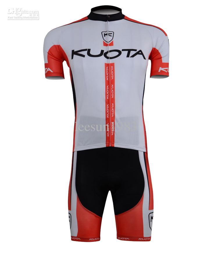2013 Kuota Team RedWhite Cycling Draag Korte Mouw Cycling Jersey en Shorts Set Maat: XS-4XL