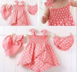 Wholesale Girls Three Piece Dresses - Wholesale - Girls' suits Pink hat + dress + shorts baby clothes girl skirt 3pcs set