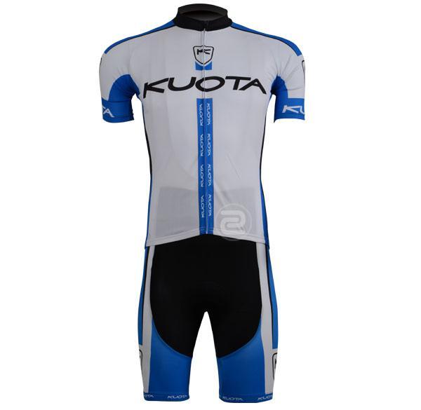 2013 Kuota Team Bluewhite Cykling Slitage Kortärmad Cykling Jersey + Kort set Storlek: XS-4XL K021