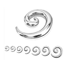 Wholesale Ear Stretchers Spirals Tunnels - 316L Surgical Stainless Steel Spiral Ear Taper   Stretcher   Plug mixing sizes body jewelry Wn36