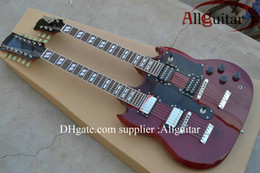 Wholesale Led Signs Guitar - 12 strings 1275 Double Neck Led Zeppeli Page Signed Aged red body 12 strings Electric guitar